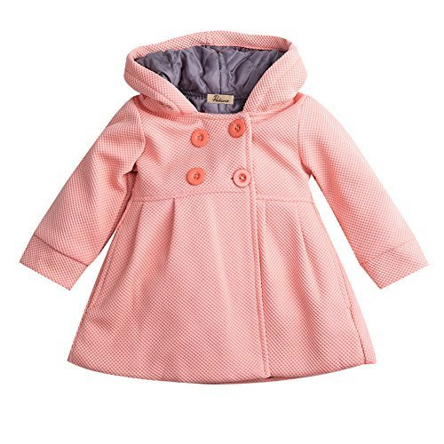 Baby Toddler Girls Fall Winter Trench Coat Wind Hooded Jacket Kids