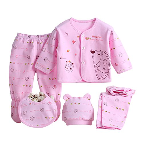 MIOIM Newborn Baby 0-3M Boys Girls Cotton Tops Hat Pants
