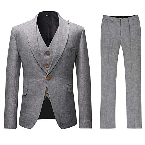 Mens 3 Piece Linen Suit Set Blazer Jacket Tux Vest Suit Pants Gray