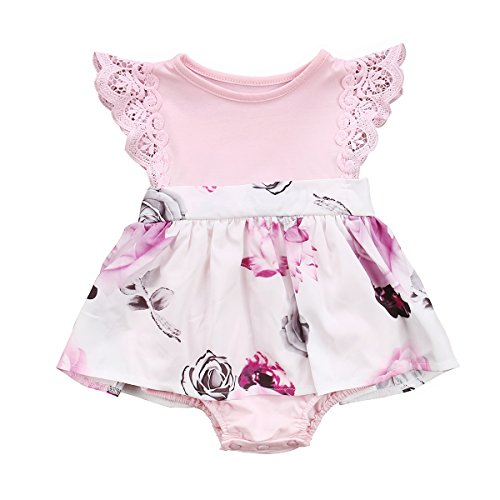 Big Sister Little Sister Floral Matching Clothing Lace Ruffle Sleeve Romper