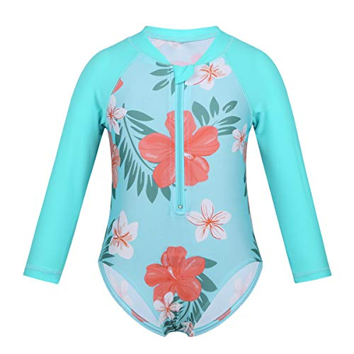 Alvivi Infant Baby Girls Long Sleeve One Piece Floral Printed Swimsuit