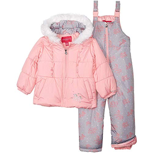 Purple Cat Pocket LONDON FOG Baby Girls Snowsuit with Snowbib and Puffer Jacket 18MO