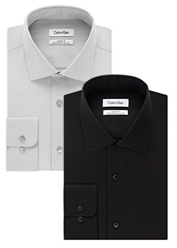 Calvin Klein Men's Dress Shirt Slim Fit Non Iron Herringbone