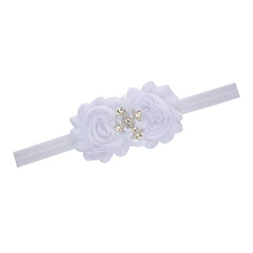 Christening Baptism Cross White Headband Infant Baby Newborn Girl Gift