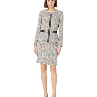 Tahari by ASL Women's Novelty Tweed Skirt Suit Ivory