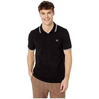 Fred Perry Men's Twin Tipped Shirt, Black/Snow White/Silver Pink, Large