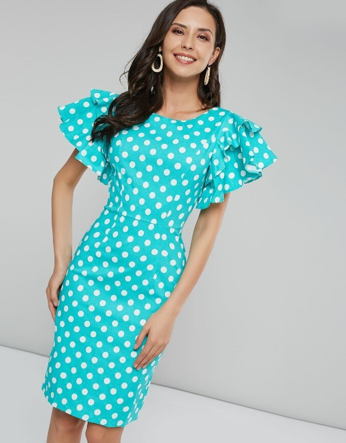 Sisjuly Women Summer Dress Bodycon Blue White Polka Dot