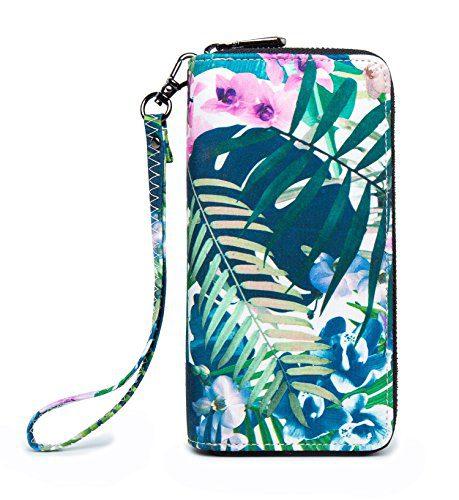 LOVEME Women Green Flower Double Zipper Wallets