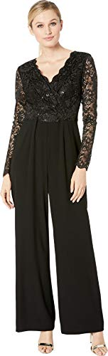 Tahari by ASL Women's Long Sleeve Stretch Lace and Crepe