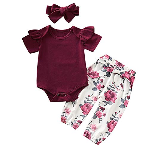 06b1bbcee6992 3PCS Infant Toddler Baby Girl Summer Clothes Ruffle Romper Top ...