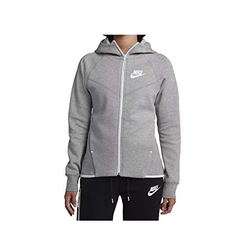 Nike Womens Tech Fleece Full Zip Hoodie Grey Heather