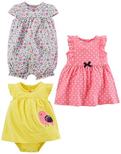 b509dcdf40d65 Simple Joys by Carter's Baby Girls' 3-Pack Romper, Sunsuit and Dress ...
