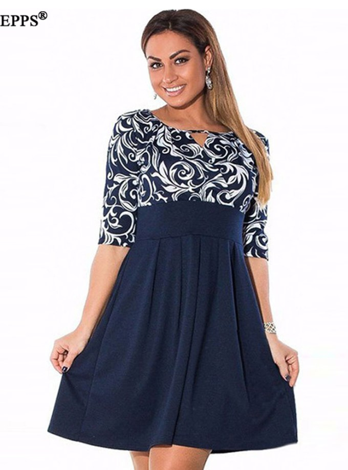 Large Size 6XL Summer Dress 19 Plus Size Midi Dress