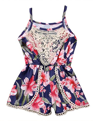 Canis Newborn Baby Girls Floral Ruffle Lace Sling Short Romper Sleeveless