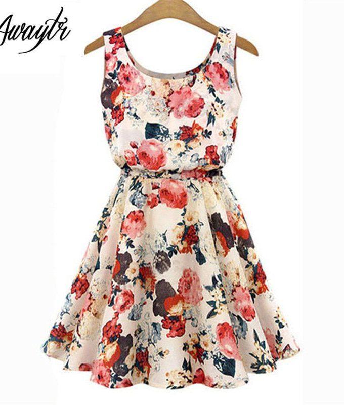 Women Summer Dress 19 AWAYTR Brand Boho New Apricot Sleeveless