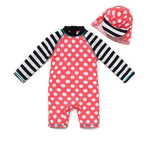 upandfast Baby Girl's Long Sleeve Rash Guard Swimsuit