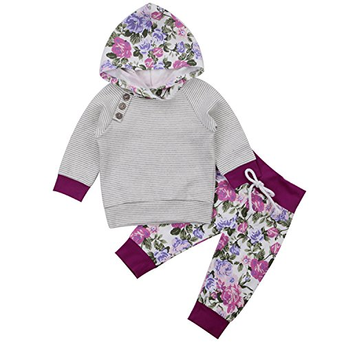 gllive Newborn Baby Boy Girl Floral Long Sleeve Hoodie Tops Pants Clothes Set