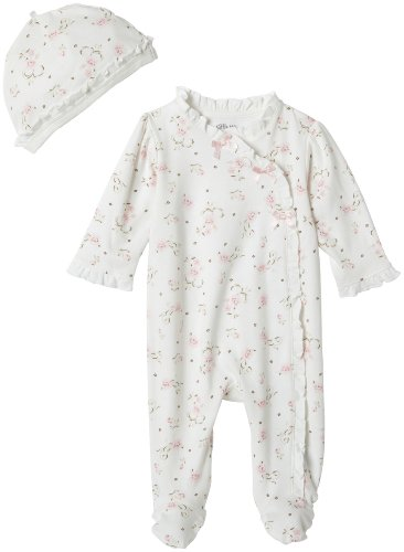 Little Me Baby Girls' Footie and Hat, Ivory Print, Newborn