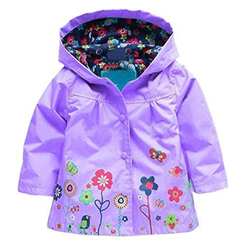 Zaclotre Baby Girl Kid Waterproof Floral Hooded Rain Jacket