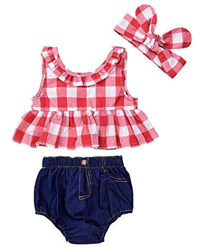 Baby Girls Plaid Ruffle Bowknot Tank Top+Denim Shorts Outfit