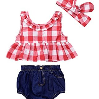 Baby Girls Plaid Ruffle Bowknot Tank Top+Denim Shorts Outfit