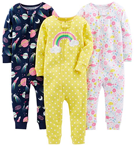 Simple Joys by Carter's Baby Girls' 3-Pack Snug Fit Footless Cotton Pajamas