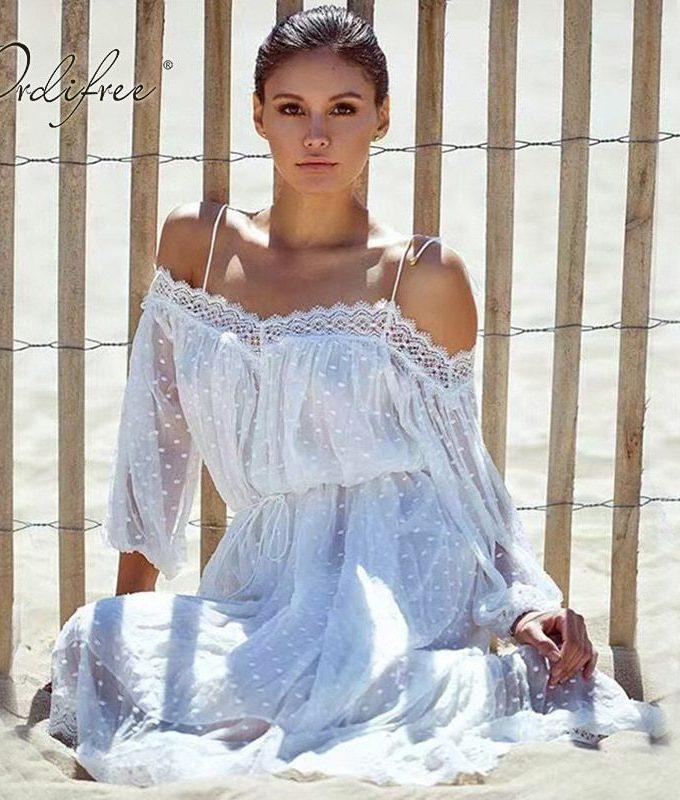 Ordifree Sundress White Lace Long Beach Dress