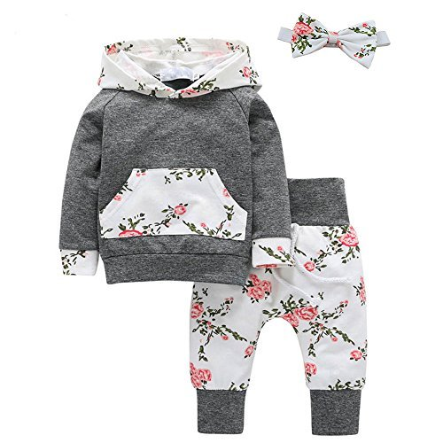 Baby Girl Flowers Hoodie Tops Shirt+Long Pants