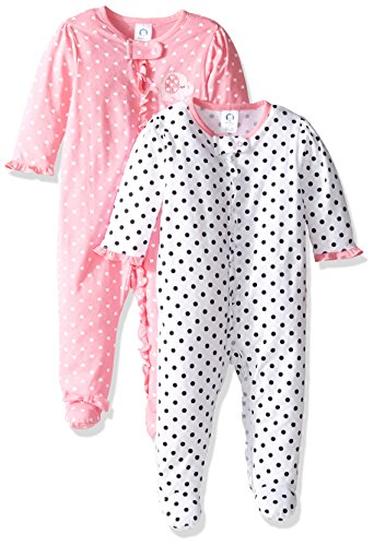 Gerber Baby Girls' 2 Pack Zip Front Sleep 'n Play,Elephants/Flowers