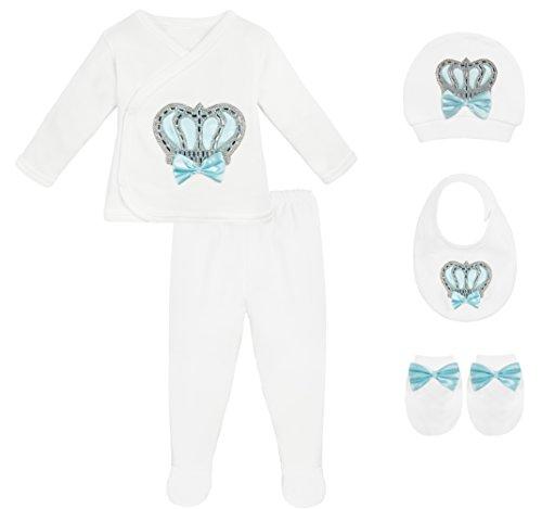Lilax Baby Girl Newborn Crown Jewels Layette 5 Piece Gift Set