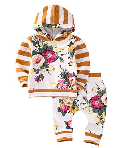 2pcs Girls Hooded Sweatshirt Tops Floral Pants Baby Take Home Outfits Costume