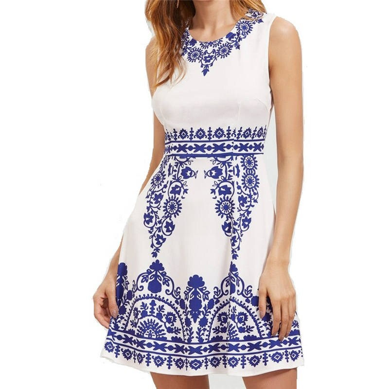 Women Blue And White Porcelain Sexy Dress Vestidos Mujer