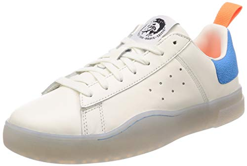 Diesel Men's S-Clever Low-Sneakers, Star White/Light Blue Fluo