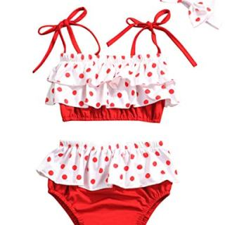 Baby Girl Swimsuit Ruffle Red Dot Top and Bikinis Skirt