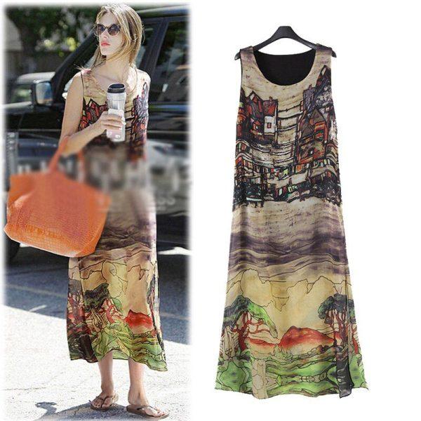 Queechalle 19 Summer dress Women big size sleeveless