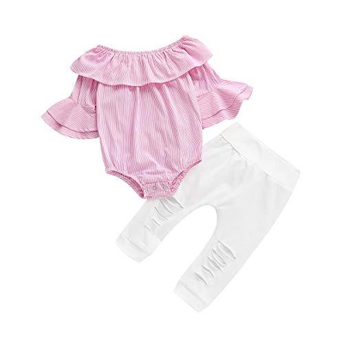 NZRVAWS Infant Girl Clothes Sets 2PCS Pink Striped Off The Shoulder