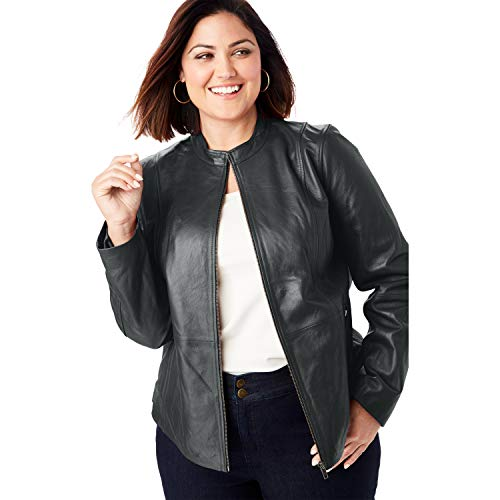 Jessica London Women's Plus Size Zip Front Leather Jacket