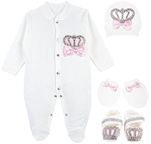 Lilax Baby Girl Jewels Crown Layette 4 Piece Gift Set Pink