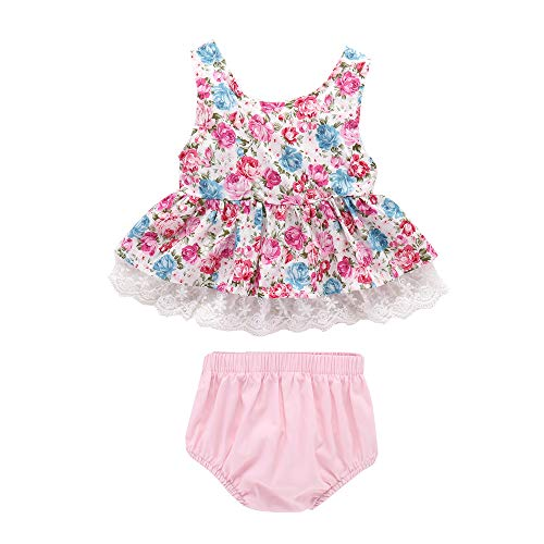 Newborn Infant Baby Girls' Outfits Floral Lace Ruffle Top + Shorts Pants