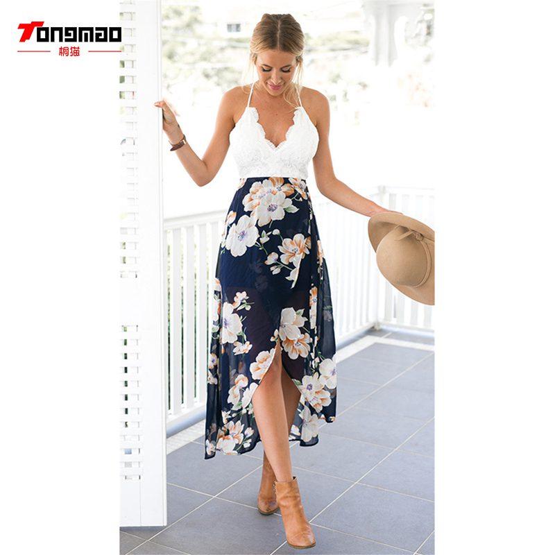 New Summer Dress Lace Stitching Printing Vestidos