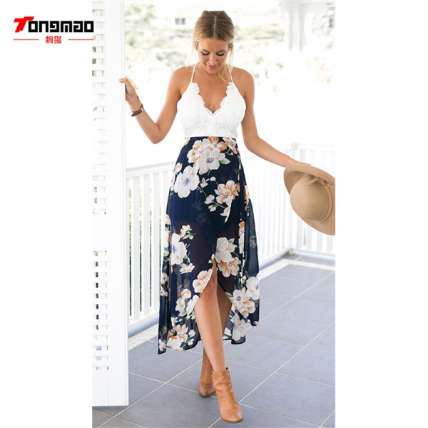 New Summer Dress Lace Stitching Printing Vestidos