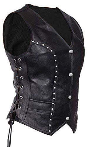 Women Ladies Real Black Cow Leather Vest Bikers Style