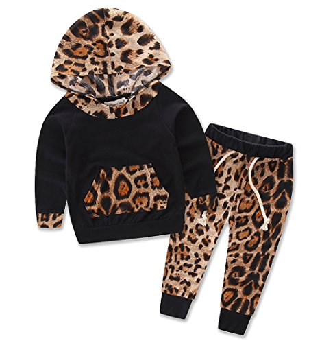 Baby Girls Floral Fleece Hoodie+ Floral Pant Leggings 2 Piece Outfits Set