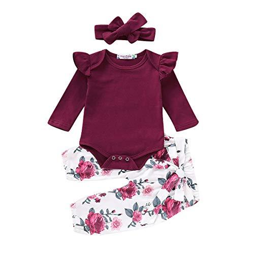 3PCS Newborn Toddler Baby Girl Clothes Ruffle Romper Bodysuit Jumpsuit