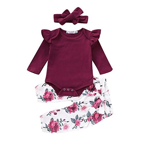 3PCS Newborn Toddler Baby Girl Clothes Ruffle Romper Bodysuit Jumpsuit