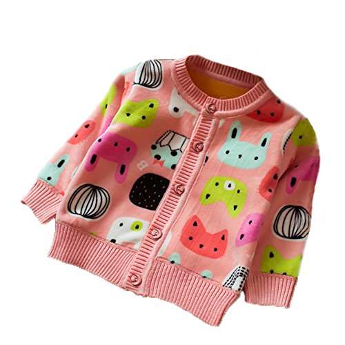 Zhuannian Baby Girls Carton Fleece Cardigan Button Sweaters