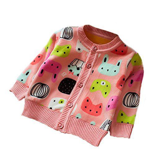 Zhuannian Baby Girls Carton Fleece Cardigan Button Sweaters