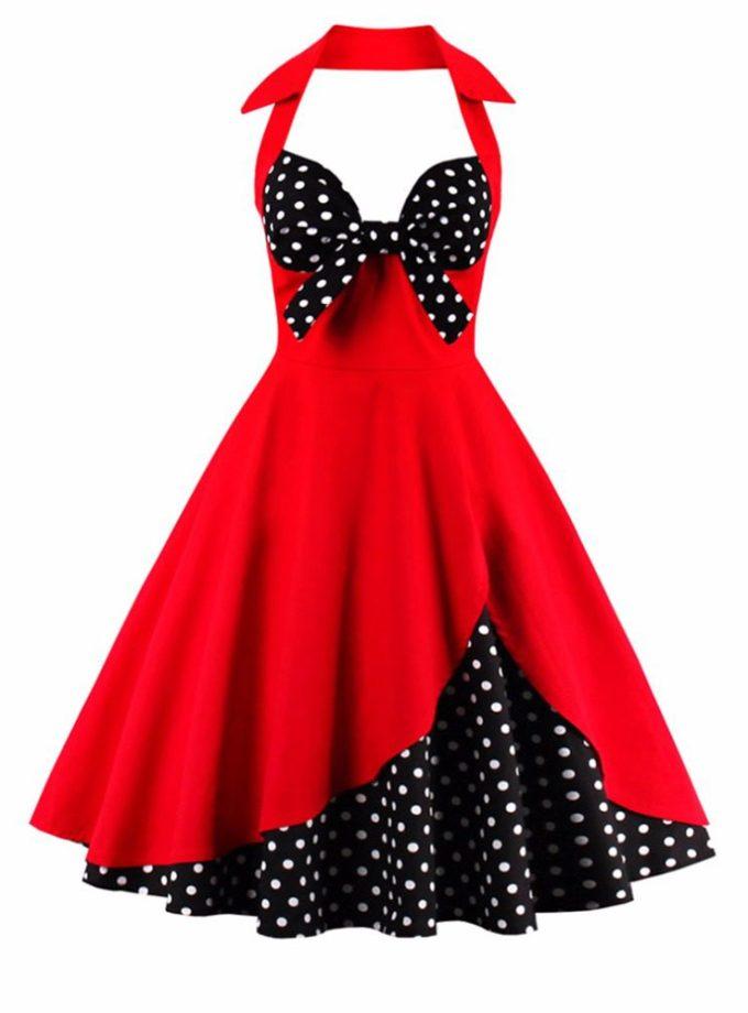 17 New Summer Dress Women Halter Patchwork Vintage Dress