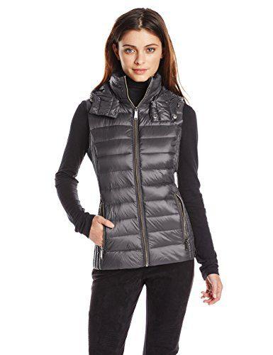 BCBGeneration Women's Packable Vest, Gunmetal, Small