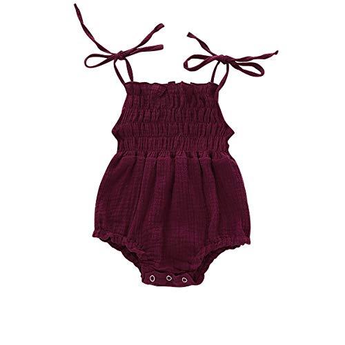 YOUNGER TREE Newborn Baby Girl Sling Romper Sleeveless Solid Color Bodysuit